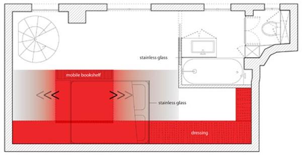 23 Square Meter Apartment in Paris called Red Nest Plan