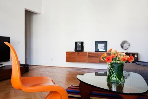 Classically Apartment With Orange Chairs Interior