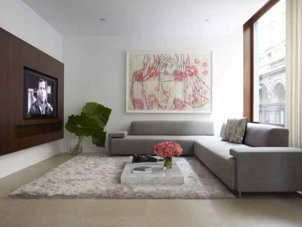 Living Room With Flat TV Interior by West Chin Architect