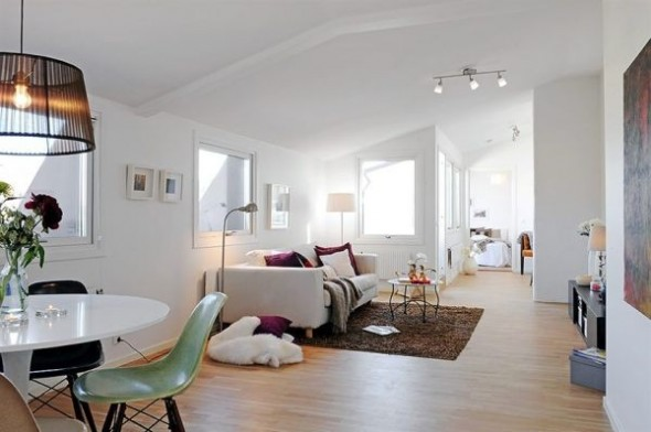 White Apartments in Sweden Interior-modern living room