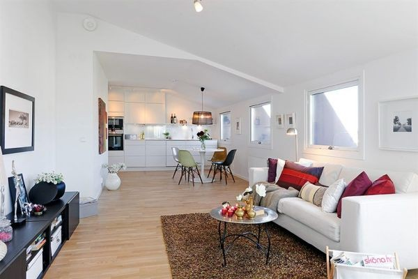 White Apartments in Sweden Interior-living room