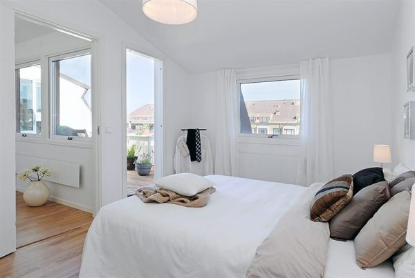 White Apartments in Sweden Interior-modern bed