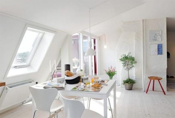 clean swedish apartment-dining