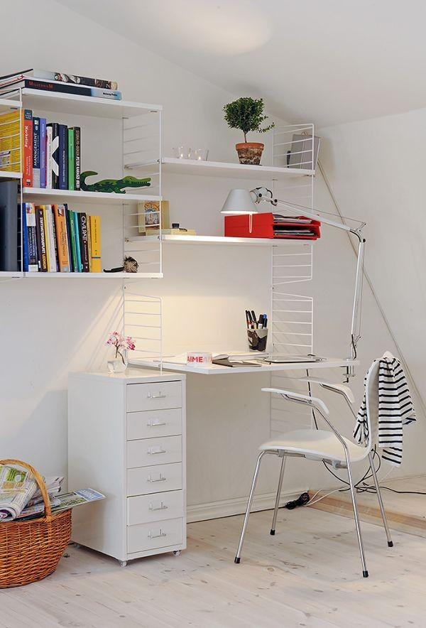 clean swedish apartment-study room