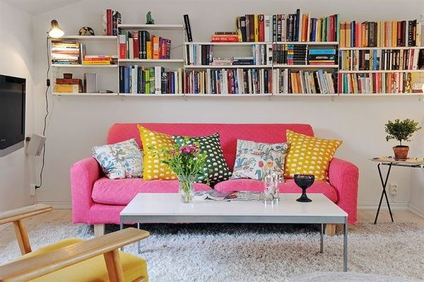 clean swedish apartment-pink sofa