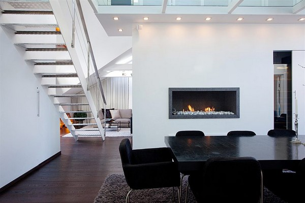Contemporary Apartment budha accents fireplace