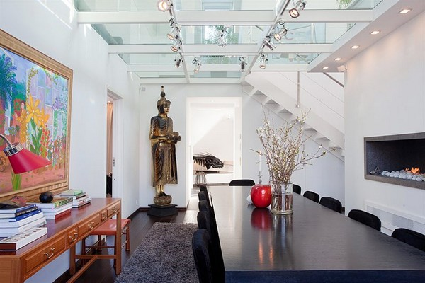 Contemporary Apartment budha accents