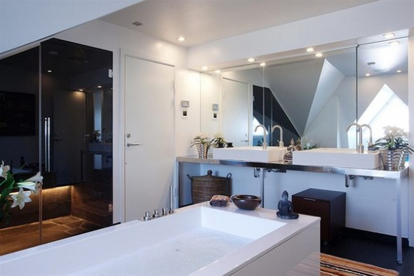Contemporary bath Apartment budha accents