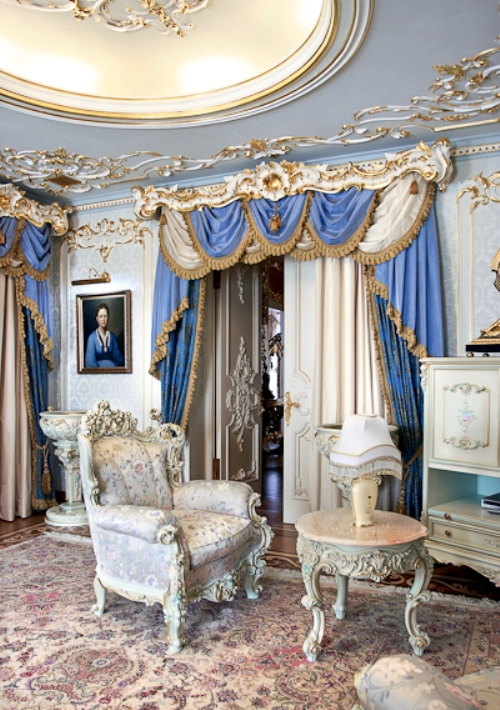 luxurious rococo style curtains sofa apartment