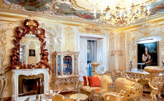 luxurious rococo style living room apartment