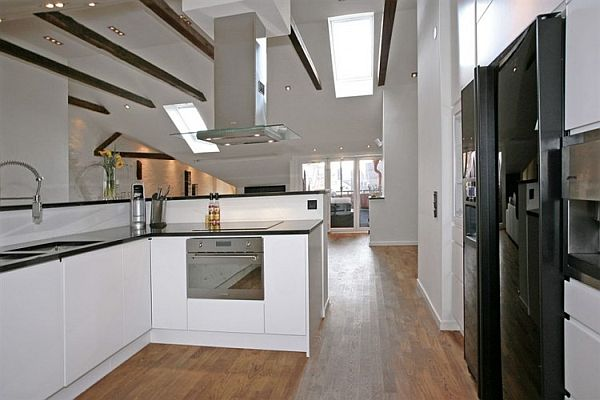 modern kitchen Penthouse Apartment in Stockholm
