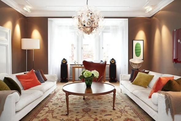 Apartment Design In Chocolate Shades Decorating-double white sofas