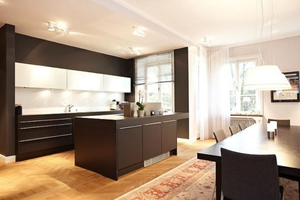 Apartment Design In Chocolate Shades Decorating-kitchen