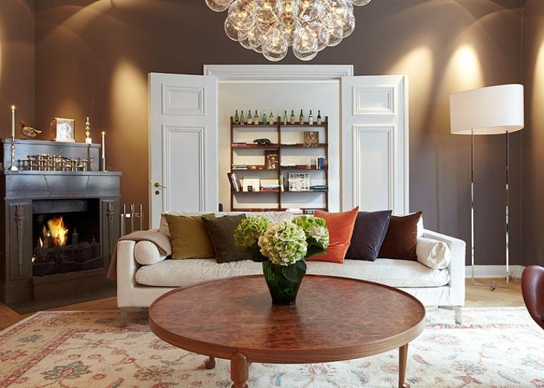 Fireplace Apartment Design In Chocolate Shades Decorating-living room