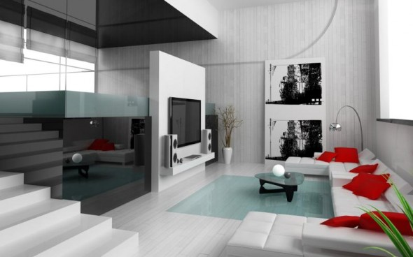 Interior Design of modern apartment living room