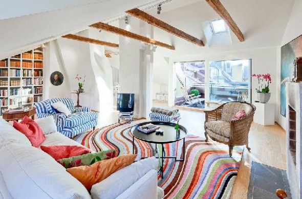 Colorful penthouse in Stockholm-attic1