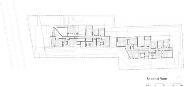 second floor plan - Ignacia Apartments Gonzalo Mardones Viviani Architects