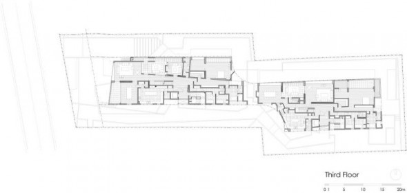third floor plan - Ignacia Apartments Gonzalo Mardones Viviani Architects