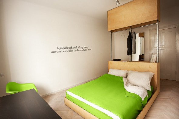 Bedrooms with Clothes hanger - Small Polish Apartment Designs