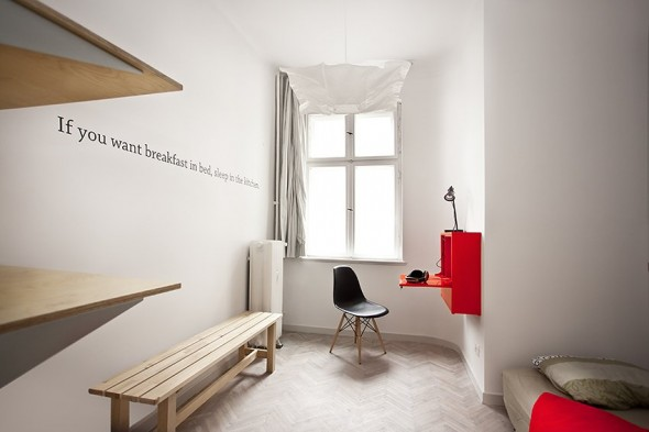 Breakfast in beds and sleep in Kitchen - Small Polish Apartment Designs