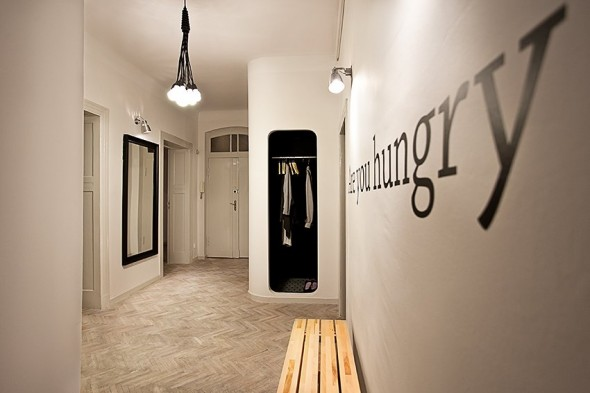 Closet in corridor way - Small Polish Apartment Designs