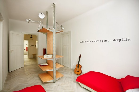 Red Twin Beds - Small Polish Apartment Designs