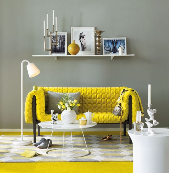 decorating with a bright yellow sofa by Ligne Roset
