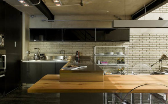 Kitchen Square Meter Loft in Sao Paulo